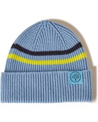 Mulberry Beanie Neon Stripe In Pale Slate And Neon Yellow - Blue