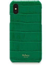 Mulberry Iphone X/xs Cover In Emerald Green Croc Print