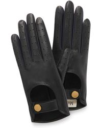 Mulberry Biker Gloves In Black And Navy Smooth Nappa