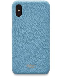 Mulberry Iphone X/xs Cover In Pale Slate Small Classic Grain - Blue