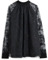 Mulberry Maisy Blouse In Black Floral Tulle