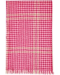 Mulberry Reversible Tricolour Check Scarf In Fuchsia And Latte Lambswool - Multicolour