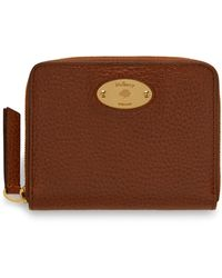 Mulberry Plaque Small Zip Around Purse In Oak Natural Grain Leather - Brown