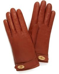 Mulberry Darley Gloves In Cognac Smooth Nappa - Multicolour