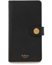 Mulberry Iphone X/xs Flip Case In Black Cross Grain Leather