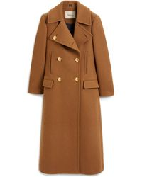 Mulberry Bethan Coat In Dark Camel Felted Wool - Brown