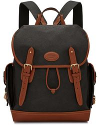 Mulberry Heritage Backpack In Black And Cognac Scotchgrain