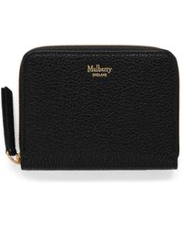 Mulberry Small Zip Around Purse In Black Small Classic Grain - Pink