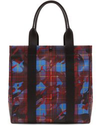 Mulberry City Tote In Blue, Red And Yellow Camo Check Econyl