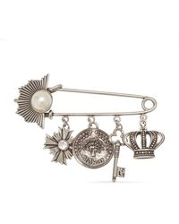 Mulberry Pin Pearl Pendant Brooch In Old Silver Brass - Metallic