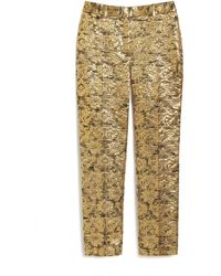Mulberry Lucie Trousers In Gold Metallic Jacquard
