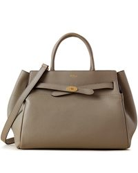 Mulberry Belted Bayswater In Solid Grey Heavy Grain