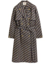 Mulberry Libby Coat In Dark Navy M Cotton - Blue