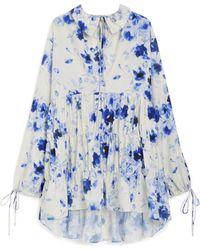 Mulberry Vera Dress In Indigo Aquarelle Floral Japonette - Blue