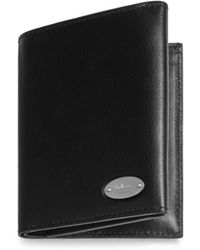 Mulberry - Oval Plaque Trifold Wallet In Black Silky Calf - Lyst