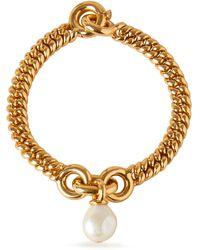 Mulberry Baroque Grace Pearl Bracelet In Mother Of Pearl Brass - Metallic