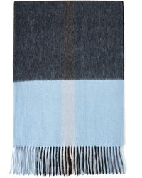 Mulberry Large Check Lambswool Scarf In Deep Blue Lambswool