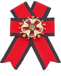 Mulberry Military Cross Brooch In Red, Chalk And Old Gold Fabric And Brass