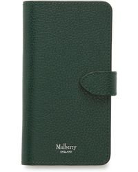 Mulberry Iphone Flip Case In Green Small Classic Grain