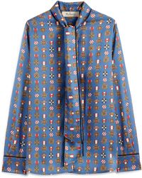 Mulberry Ottilie Blouse In Slate Blue Medallion Twill
