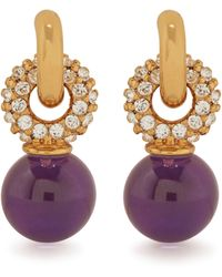 Mulberry Grace Small Strass Earrings In Gold And Ametiste Brass And Strass - Metallic