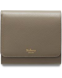 Mulberry Small Continental French Purse In Solid Grey Small Classic Grain