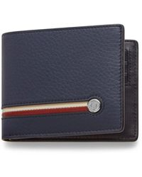 Mulberry 8 Card Wallet With Tree Plaque In Midnight Heavy Grain With Stripes - Blue