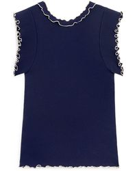 Mulberry Anna T-shirt In Navy Micro-rib Knit - Blue