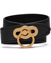 Mulberry - Amberley Double Bracelet In Black Cross Grain Leather - Lyst