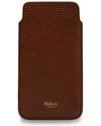Mulberry - Iphone Cover And Card Slip In Oak Natural Grain Leather - Lyst