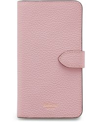 Mulberry Iphone X/xs Flip Case In Powder Pink Small Classic Grain