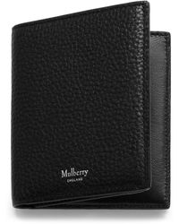 Mulberry Trifold Wallet In Black Natural Grain Leather