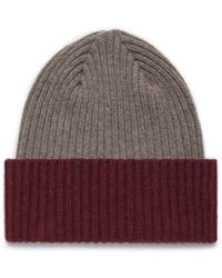 Mulberry - Knitted Beanie In Clay Lambswool - Lyst