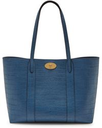 Mulberry Bayswater Tote In Pale Navy Matte Croc - Blue