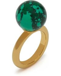 Mulberry Grace Coloured Ring In Gold And Green Brass And Resin