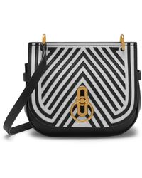 Mulberry Small Amberley Satchel In Black And White Patchwork