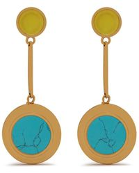 Mulberry - Dropped Coin Earring In Gold, Turquoise And Yellow Brass, Mop And Stones - Lyst
