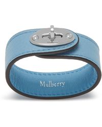 Mulberry Bayswater Leather Bracelet In Pale Slate Small Classic Grain - Blue