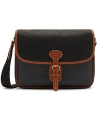 Mulberry - Small Heritage Messenger In Black And Cognac Scotchgrain - Lyst