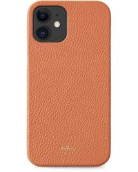 Mulberry Iphone 12 Case In Apricot Small Classic Grain - Orange