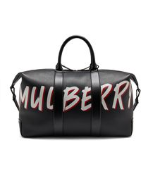 Mulberry Zipped Weekender In Black Graffiti Print On Small Classic Grain