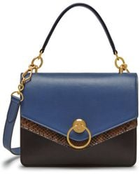Mulberry - Harlow Satchel In Chocolate Brown, Pale Navy And Liquorice Silky Calf And Python - Lyst