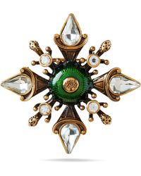 Mulberry Military Flower Brooch In Dark Green And Old Gold Fabric And Brass