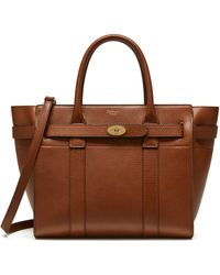 Mulberry Small Zipped Bayswater In Oak Natural Grain Leather - Multicolor