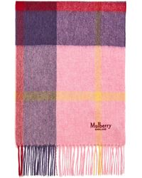Mulberry Small Check Lambswool Scarf In Powder Pink Lambswool