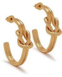 Mulberry Knot Hoop Earrings In Gold Brass - Metallic
