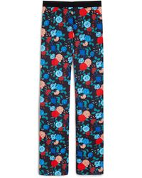 Mulberry Tessa Trousers In Black Floral Satin Back Crepe