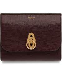 Mulberry Amberley Medium Wallet In Oxblood Cross Grain Leather - Multicolour
