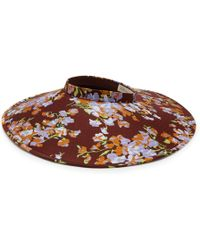 Mulberry Wide Brimmed Visor In Lilac Solid Color Crepe - Purple