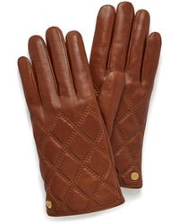 Mulberry Quilted Nappa Gloves In Cognac Nappa Leather - Brown
